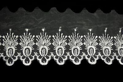 """Lily 3.25"""" White Embroidered Sheer Organza Lace Trim with Scalloped Edge By Yard"""