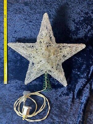 "Star Tree Topper Clear Light Up Christmas Spaghetti Acrylic 12"" Kurt Adler"