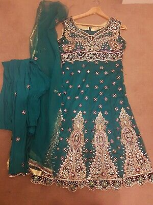 Turquoise Heavy Embroidered Asian Indian Pajama Suit Frock Size 10