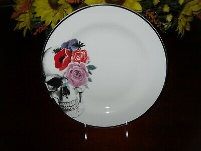 """Ciroa Wicked Halloween 10/5"""" Set/4 Dinner Plates Colorful Floral Skull New"""