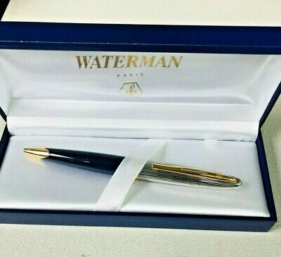 New/Old Navy Blue Waterman Carene Deluxe Ball Pen Lacquer New in Box