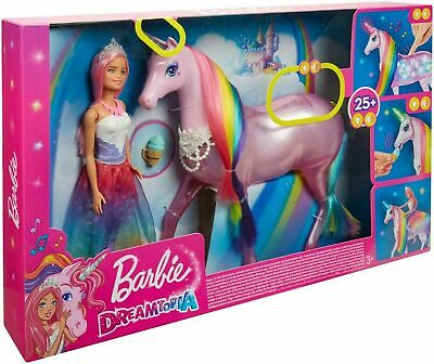 Barbie Dreamtopia Musical Light Unicorn With Sounds And Princess Barbie New