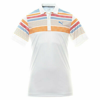 NWT Puma Golf Men's Jersey Stripe Polo Bright White/Vibrant Orange You Pick Size