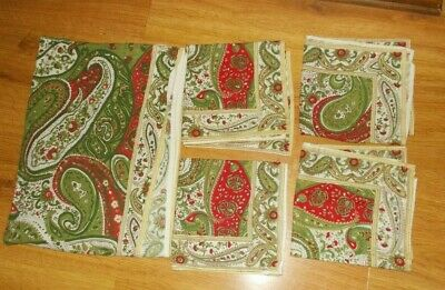 White Pine Paisley Table Cover Cotton Tablecloth 62 X 80 & 4 Napkins Red Green