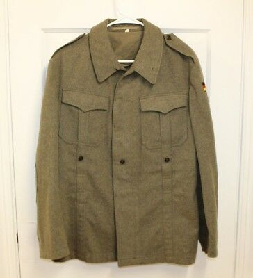Authentic German Army Olive Wool Military Jacket Flag Nato Officers Coat Sz 40