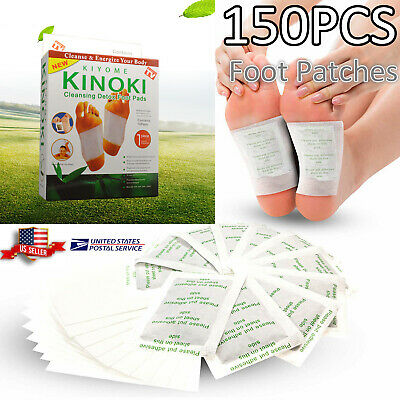 150 Pcs Kinoki Herbal Detox Foot Pads Patches Feet Care Relieving Pain Massager