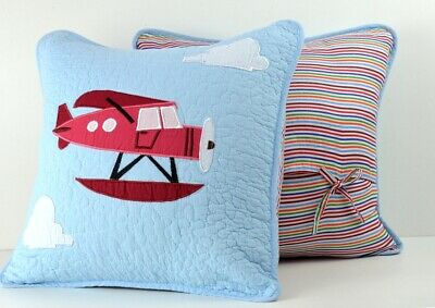 Aeroplane Appliqued  Square Cushion