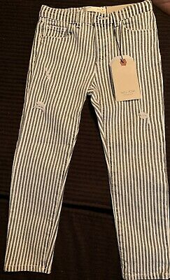 Nwt Zara Kids Collecton Size 6 White/Black Striped Distressed Stretchy Jeggings