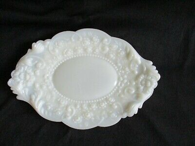 Antique Early Victorian Opaque Milk Glass Dresser Tray