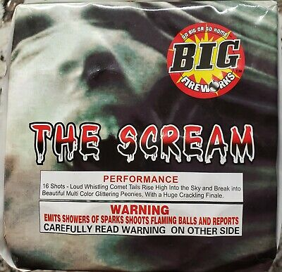 The Scream 16 shot 200g firework label by Big Fireworks whistle