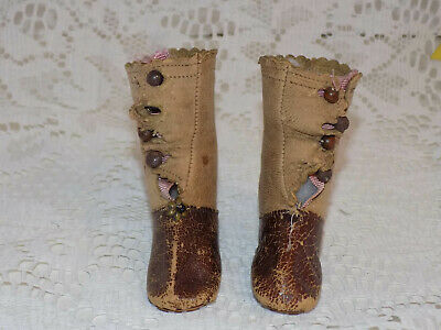 Antique French German Fashion Doll Boots Leather 2 colors