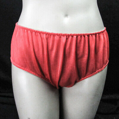 Vintage 70s Ribbed Red All Nylon Panties S Low Rise Unlined Gusset Sheer Sissy