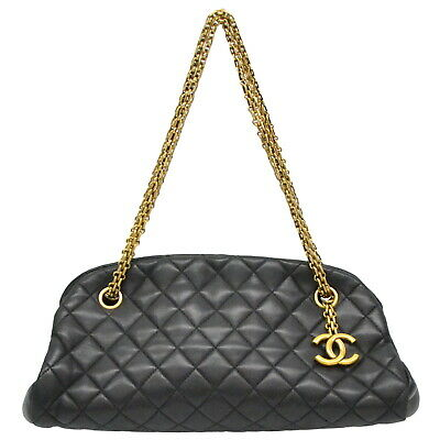Authentic Chanel Mademoiselle Leather Chain Shoulder Hand Bag Bowling Black Gold