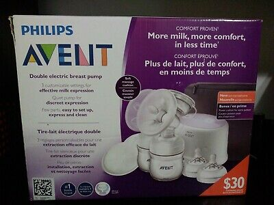 Philips SCF334/22 Avent Double Electric Breast Pump + Power Cushion - White