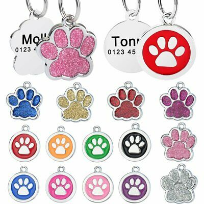 Persoanlized Dog Tags Paw Glitter Custom Engraved Cat Per Puppy Kitten ID Name