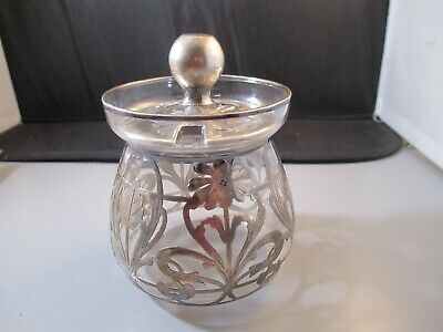 Sterling Silver Overlay Glass Lidded Bowl Replacement Marked Flower pattern
