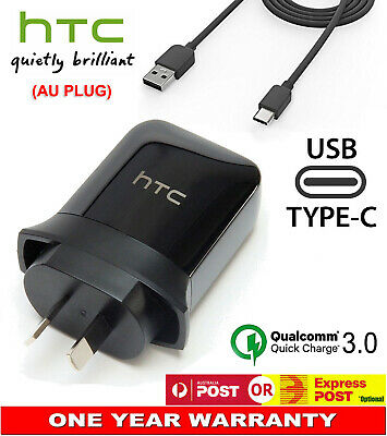 Genuine HTC AC Wall Charger Power Adapter Quick Rapid Charge AU Plug USB-C Cord