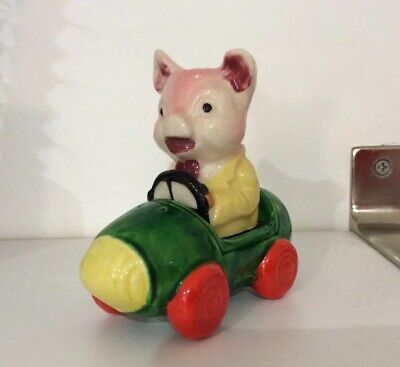 VINTAGE KITCHEN SALT & PEPPER SHAKER  PIG DRIVER  CAR SET..CAR AND PIG ..novelty