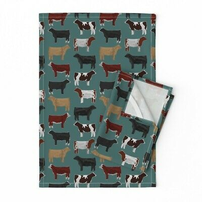 Cow Cows Cattle Farm Animal Bovine Linen Cotton Tea Towels by Roostery Set of 2