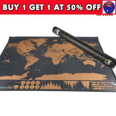 Deluxe Large Scratch Off World Map Personalized Travel Poster Travel Atlas CB