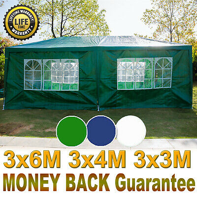 3x6m Sides Marquee Gazebo Tent Garden Party Waterproof Canopy Shelter Windbars