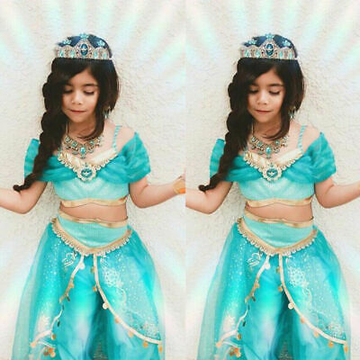 Hot Kids Aladdin Cosplay Costume Princess Jasmine Outfit Party Girls Fancy Dress