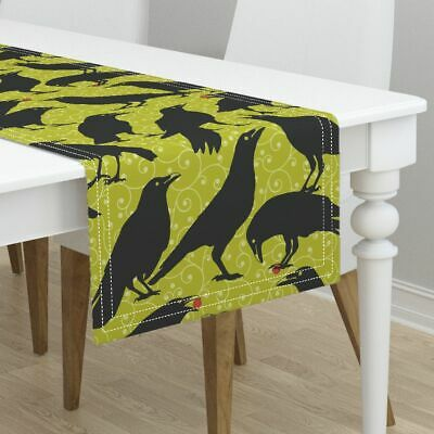 Table Runner Ravens Black Bird Raven Crow Black Bird Halloween Cotton Sateen