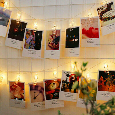 10/20/40 LED Photo Peg Clips String Lights Wall Hanging Fairy Xmas Party Wedding