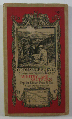 1929 Vintage OS Ordnance Survey Popular Edition One-Inch Map 16 Whitby Saltburn