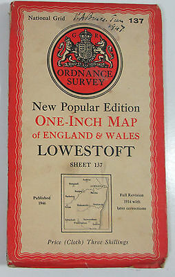 1947 Old OS Ordnance Survey One-Inch New Popular Edition CLOTH Map 137 Lowestoft