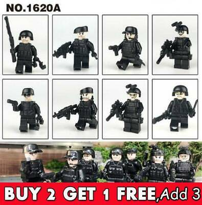 Multi SWAT POLICE Military Mini figures Weapons Army SS Soldier Fit Lego Toys CB