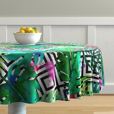 Round Tablecloth Watercolor Leaves Tropical Geo Boho Rainbow Cotton Sateen