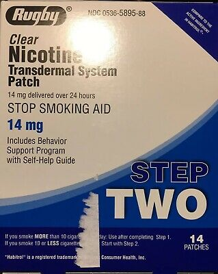 "Sale! 14mg Clear Nicotine Transdermal Patch ""Step 2 Stop Smoking Aid"" 42 Patches"