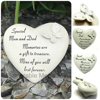 Memorial Diamante Butterfly Heart Graveside Plaque Ornament Garden Tribute Verse