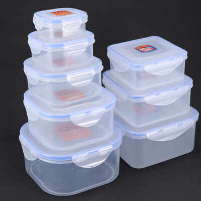 8X Plastic Lunch Box Fruit Food Storage Boxes Container Airtight Seal With Lids