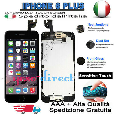 PER IPHONE 6 PLUS LCD ASSEMBLATO COMPLETO DISPLAY SCHERMO + Button Camera NERO