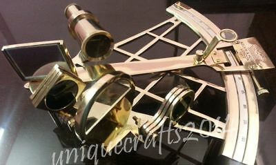 Shiny Brass Nautical Heavy Sextant Maritime Working Navy Item.