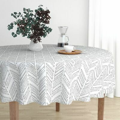 Round Tablecloth Herringbone Grey Distressed Chevrons In Black Cotton Sateen