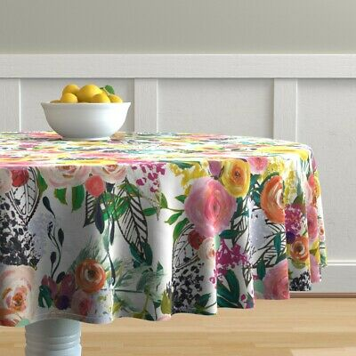 Round Tablecloth Autumnal Watercolor Floral Bold Autumn Blooms Cotton Sateen