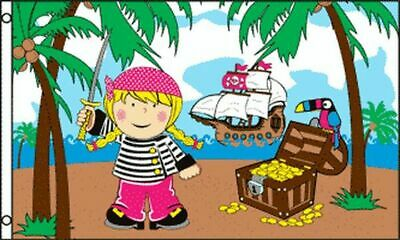 TREASURE ISLAND GIRL FLAG 3' x 5' - PIRATE FLAGS 90 x 150 cm - BANNER 3x5 ft Hig