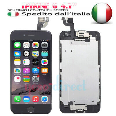 PER IPHONE 6 NERO ASSEMBLATO COMPLETO DISPLAY SCHERMO LCD & Home Button Camera