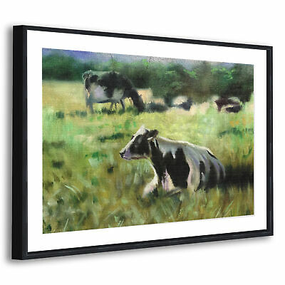 Black Framed Animal Picture Wall Art Prints Brown White Green Cows
