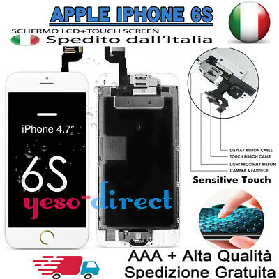 PER IPHONE 6S LCD DISPLAY SCHERMO ASSEMBLATO COMPLETO BLCNCO + Button Camera