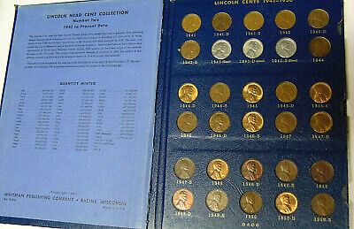 Complete Set Lincoln Cents 1941-1974 Whitman Deluxe Album Approx 63 Coins Are BU