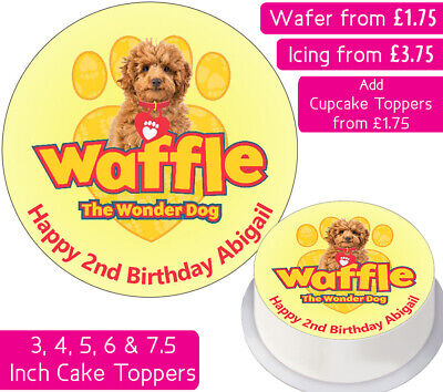 Waffle The Wonder Dog Edible Wafer & Icing Personalised Cake Toppers Birthday