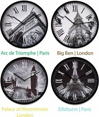 Tour Eiffel Horloge Murale 30cm Cuisine Fluruhr Antique Design Rétro Salon Paris