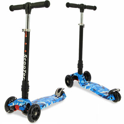 3 LED Wheel Kids Childrens Adjustable Tri Folding Push Scooter with Suspension