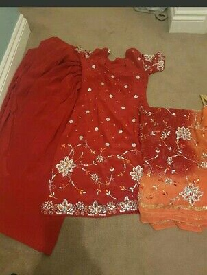 Red Indian Asian Salwar Suit With Heavy Dupata Size 10