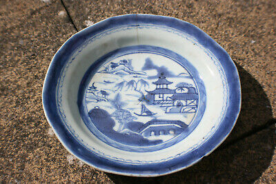 Antique Chinese Porcelain Blue & White Hand Painted Landscape Picture Plate