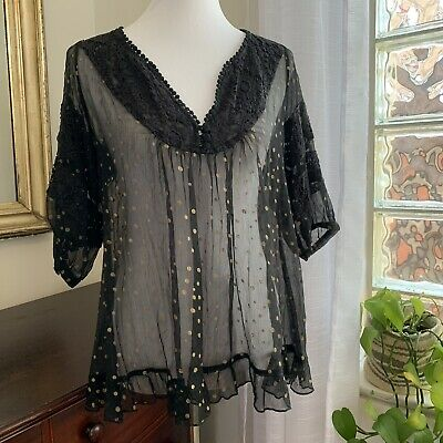 Hazel Sheer Baby Doll Top Medium